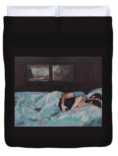 Sleeping In Duvet Cover by Leslie Allen
