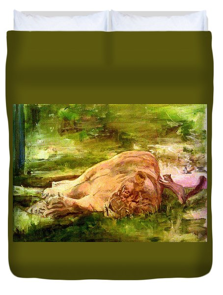 Sleeping Lionness Pushy Squirrel Duvet Cover