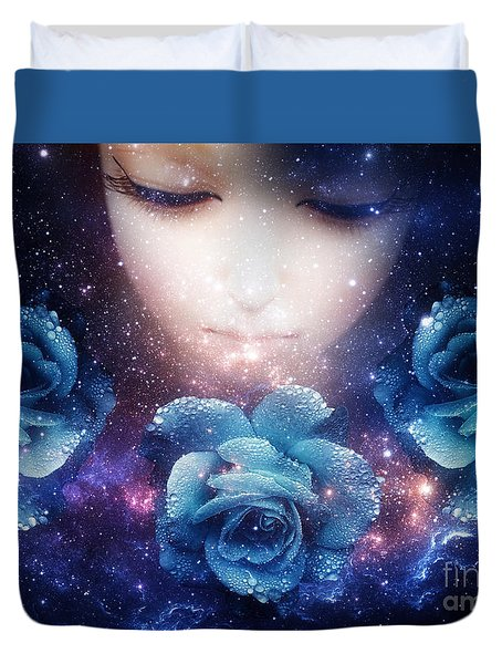 Sleeping Rose Duvet Cover by Mo T