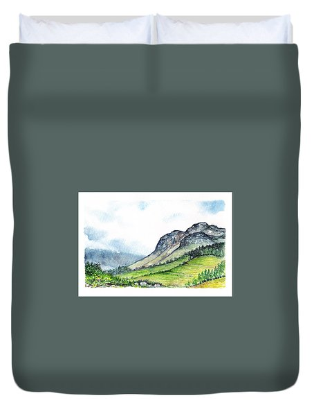Duvet Cover featuring the painting Sleeping Valley by Heidi Kriel