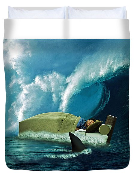 Sleeping With Sharks Duvet Cover by Marian Voicu