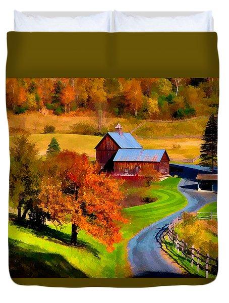 Digital Painting Of Sleepy Hollow Farm Duvet Cover