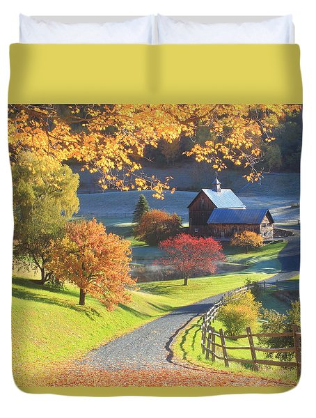 Sleepy Hollow Farm Vermont Autumn Morning Duvet Cover