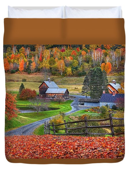 Sleepy Hollows Farm Woodstock Vermont Vt Autumn Bright Colors Duvet Cover
