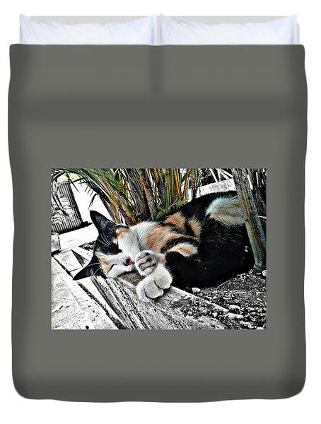 Sleepy Kitty   Duvet Cover