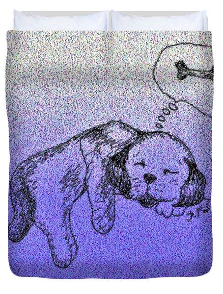 Sleepy Puppy Dreams Duvet Cover
