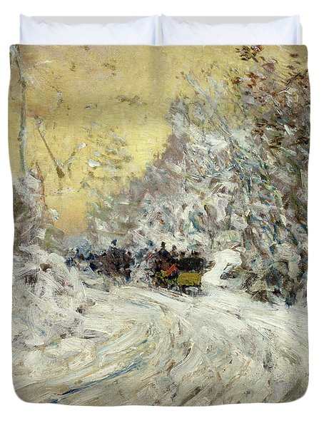 Sleigh Ride In Central Park Duvet Cover by Childe Hassam