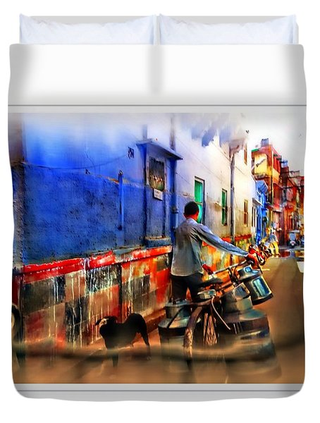 Slice Of Life Milkman Blue City Houses India Rajasthan 1a Duvet Cover