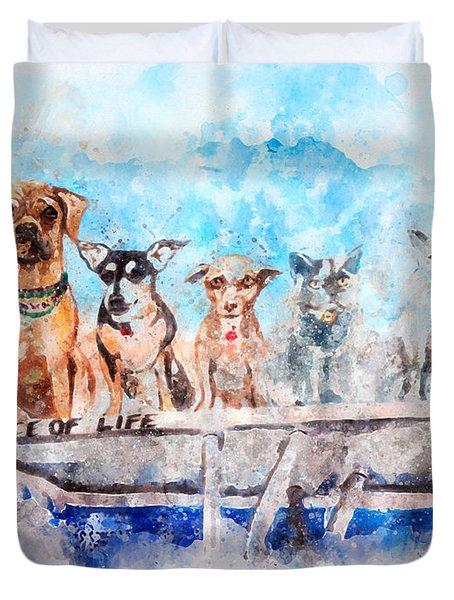 Slice Of Life Watercolor Duvet Cover