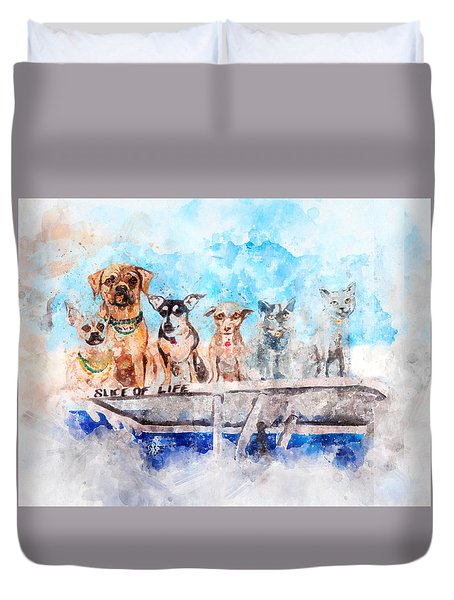 Slice Of Life Watercolor Duvet Cover