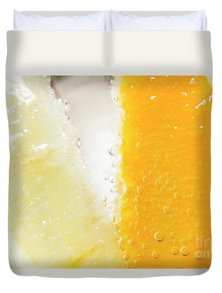 Slice Of Orange And Lemon In Cocktail Glass Duvet Cover