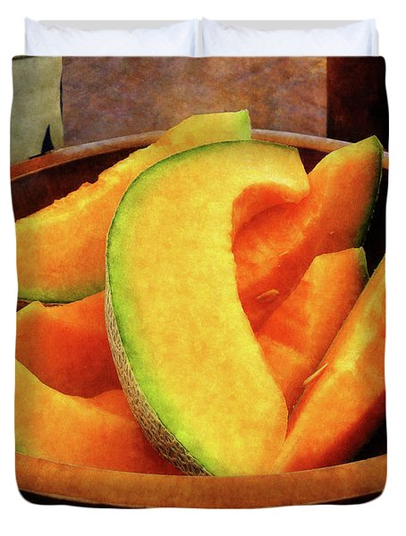 Slices Of Cantaloupe Duvet Cover by Susan Savad