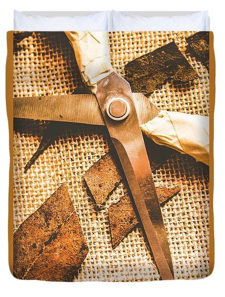 Slicing Of Segmented Leaves Duvet Cover