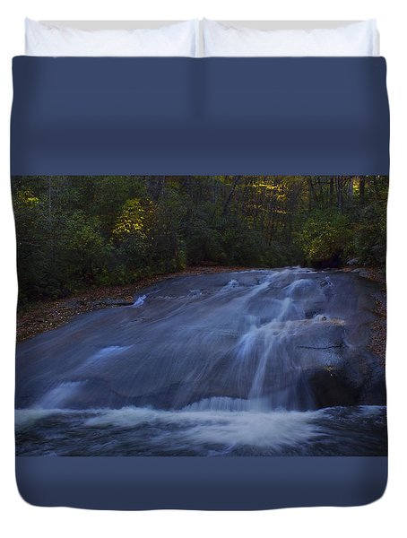 Duvet Cover featuring the photograph Sliding Rock Falls by Ellen Heaverlo