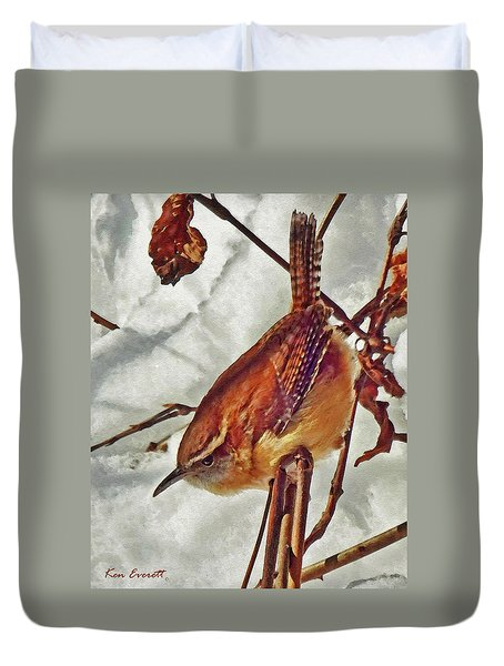 Slim Pickens, Carolina Wren Duvet Cover by Ken Everett