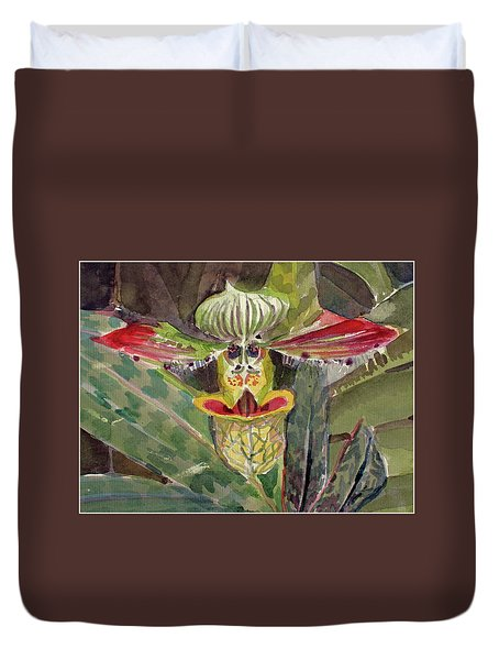 Duvet Cover featuring the painting Slipper Foot Aladdin by Mindy Newman