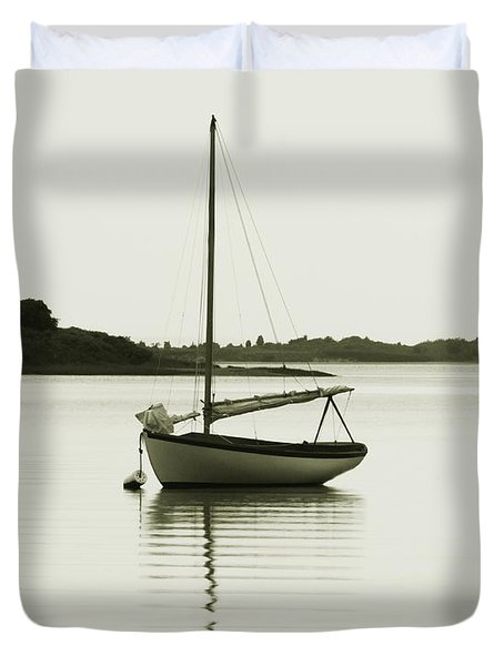 Duvet Cover featuring the photograph Sloop At Rest  by Roupen  Baker