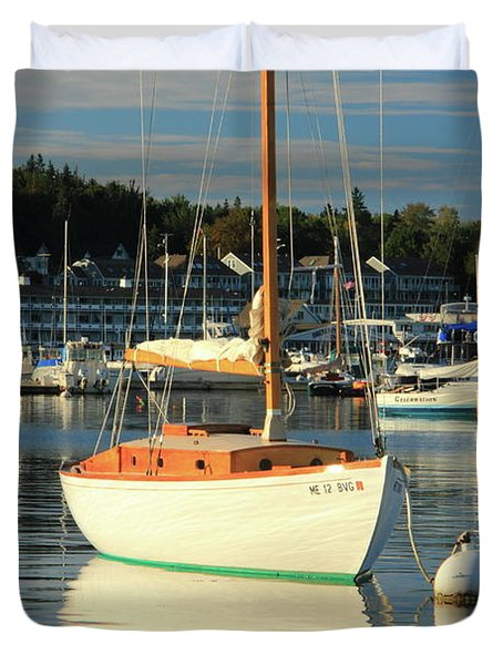 Duvet Cover featuring the photograph Sloop Reflections by Roupen  Baker
