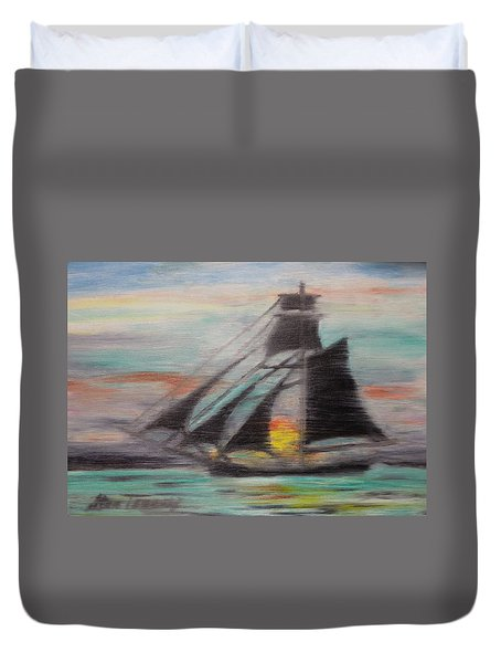 Duvet Cover featuring the painting Sloop by Stan Tenney