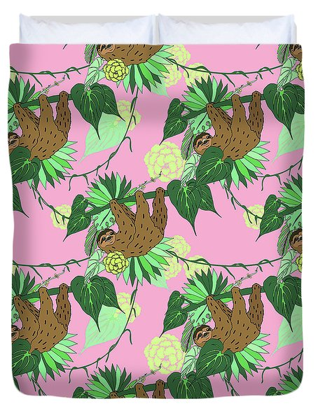 Sloth - Green On Pink Duvet Cover