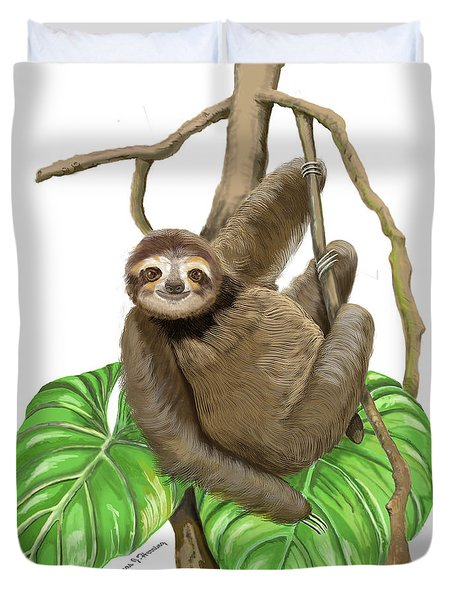 Duvet Cover featuring the mixed media Hanging Three Toe Sloth  by Thomas J Herring