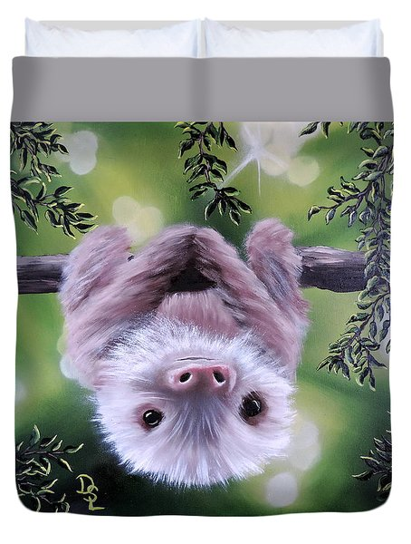Sloth'n 'around Duvet Cover by Dianna Lewis