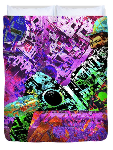Duvet Cover featuring the mixed media Slouch by Tony Rubino