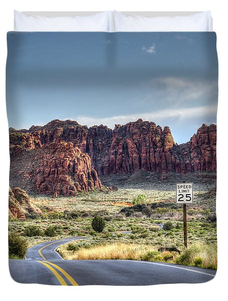 Slow Down In Snow Canyon Duvet Cover