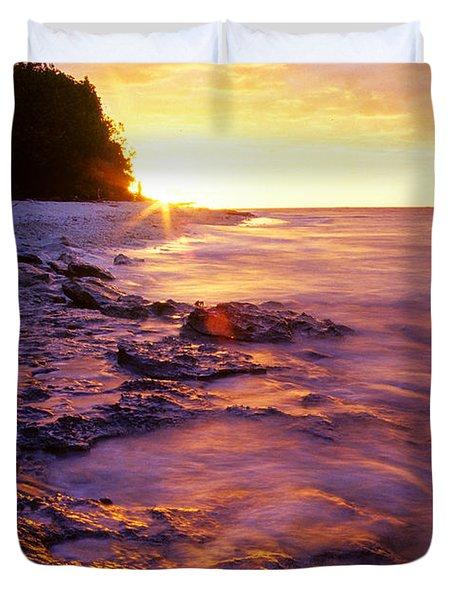 Slow Ocean Sunset Duvet Cover