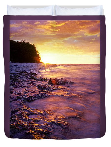 Duvet Cover featuring the photograph Slow Ocean Sunset by T Brian Jones