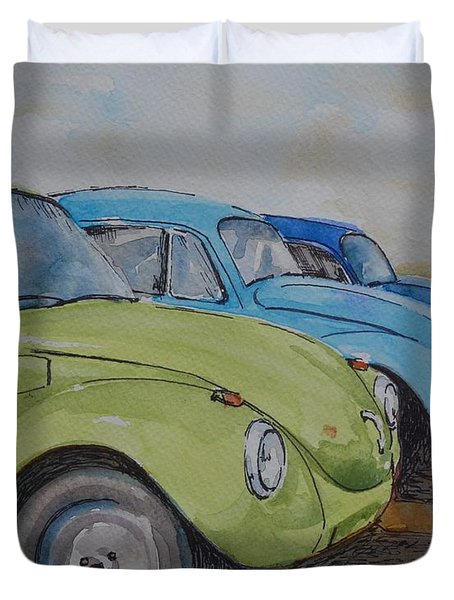 Slugbug Green Duvet Cover by Gretchen Bjornson