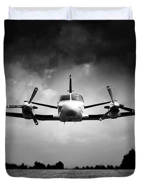 Small Airplane Low Flyby Duvet Cover