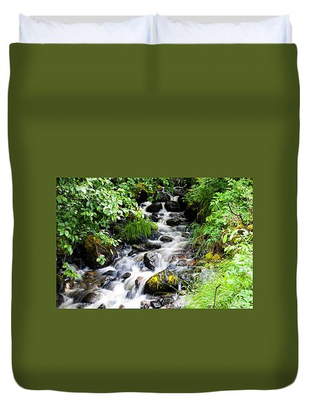 Small Alaskan Waterfall Duvet Cover
