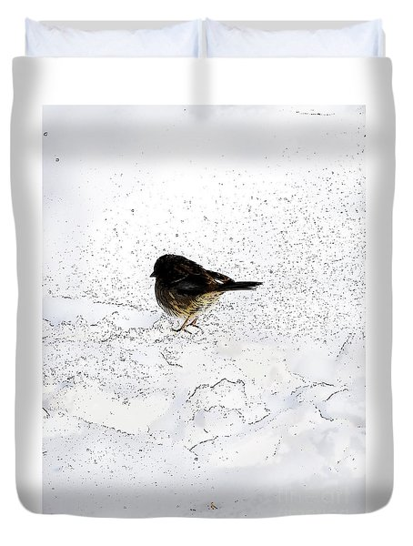 Small Bird On Snow Duvet Cover