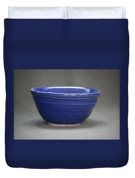 Small Blue Ceramic Bowl Duvet Cover by Suzanne Gaff
