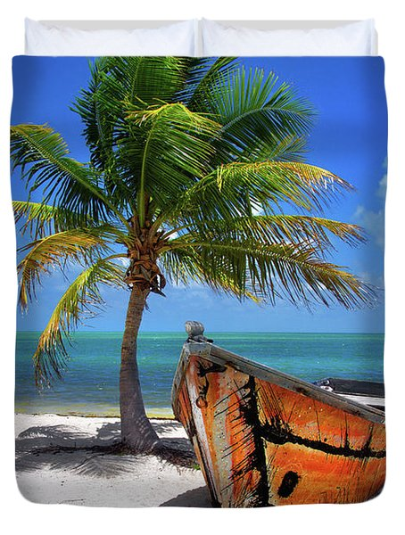Small Boat And Palm Tree On White Sandy Beach In The Florida Keys Duvet Cover