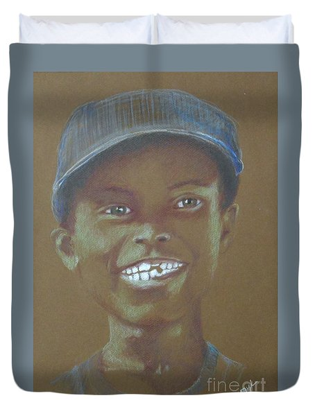 Small Boy, Big Grin -- Retro Portrait Of Black Boy Duvet Cover