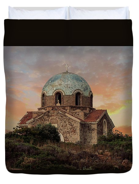 Small Church In Sunion Duvet Cover