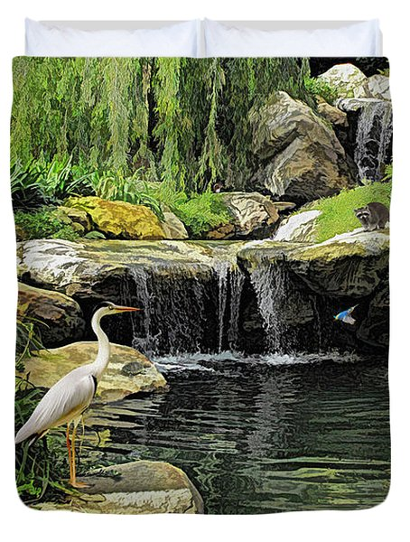 Small Creek Waterfall With Wildlife Duvet Cover