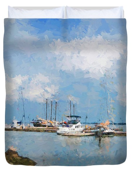 Small Dock With Boats Duvet Cover