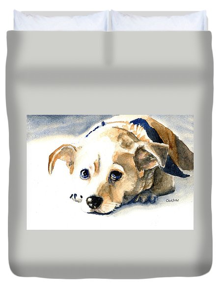 Small Dog With Tan Short Hair  Duvet Cover