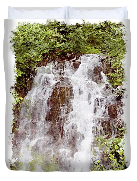 Small Falls On Mt. Ranier Duvet Cover by Peter J Sucy