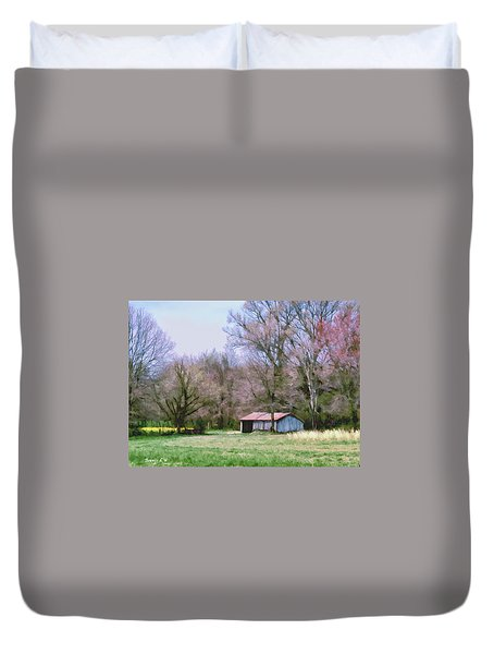 Small Farm Building Duvet Cover