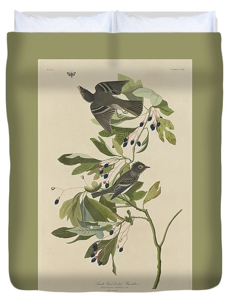 Small Green-crested Flycatcher Duvet Cover by Anton Oreshkin