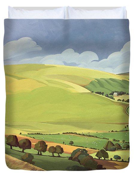 Small Green Valley Duvet Cover by Anna Teasdale