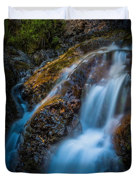 Small Mountain Stream Falls Duvet Cover by Chris McKenna