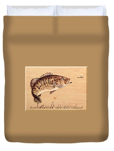 Small Mouth Bass Duvet Cover