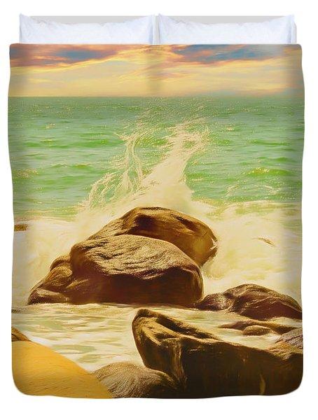 Small Ocean Waves,large Rocks. Duvet Cover