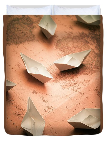 Small Paper Boats On Top Of Old Map Duvet Cover