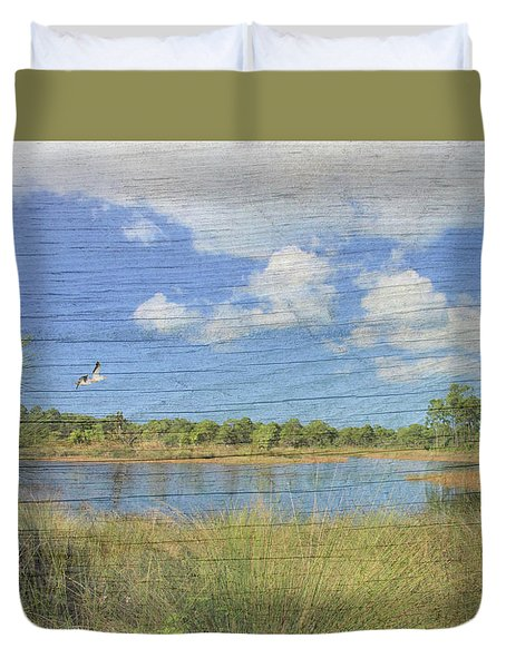 Small Pond With Weathered Wood Duvet Cover by Rosalie Scanlon